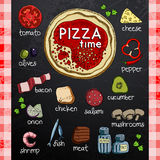 Pizza and ingredients for cooking Stock Photography
