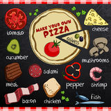 Pizza and ingredients for cooking Royalty Free Stock Photos