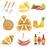 Pizza Ingredients And Cooking Utensils Collection. Vector Illustration In Realistic Simplified Style.  Objects On White Background Stock Photography
