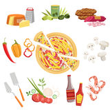 Pizza Ingredients And Cooking Utensils Set Royalty Free Stock Image