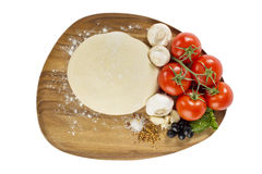 Pizza ingredients with dough Royalty Free Stock Photography