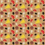 Pizza ingredients flat pattern Royalty Free Stock Image