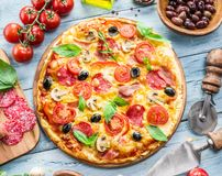 Pizza and ingredients. Food background. Royalty Free Stock Image