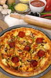 Pizza with ingredients. Pizza : Freshly baked pepperoni Pizza with various ingredients Stock Image