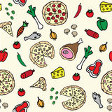 Pizza ingredients illustration seamless pattern. Wallpaper Stock Image