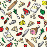 Pizza ingredients illustration seamless pattern Royalty Free Stock Images
