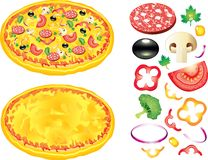 Pizza and ingredients  illustration Stock Photo