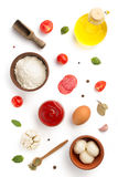 Pizza ingredients isolated on white Stock Photo