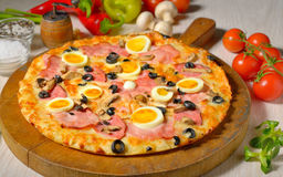 Pizza and ingredients Royalty Free Stock Photo