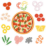 Pizza and ingredients for pizza, vector illustration Royalty Free Stock Photo