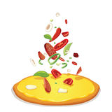 Pizza Ingredients Pizzas and Falling Ingredient Royalty Free Stock Image