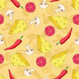 Pizza ingredients seamless pattern on coloured background Stock Photos