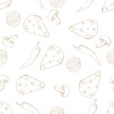 Pizza ingredients seamless pattern sepia on white Stock Photography