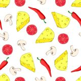 Pizza ingredients seamless pattern on white Royalty Free Stock Photo