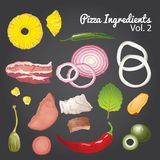 Pizza ingredients and supplies. Vector mega set. Stock Photography