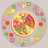 Pizza ingredients. Vector illustration of different kinds of pizza with ingredients for pizzeria or delivery service vector illustration