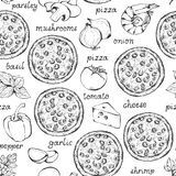 Pizza ingredients vector seamless pattern. Hand drawn food background with text royalty free illustration