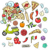 Pizza ingridients colorful design vector Royalty Free Stock Images