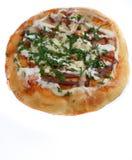 Pizza isolata su priorità bassa bianca fotografia stock