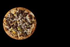 Pizza on black background stock photos