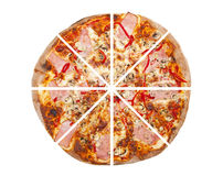 Pizza. Isolated on the white background Stock Photos