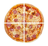 Four pieces of pizza isolated on the white