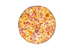 Pizza on white background royalty free stock image