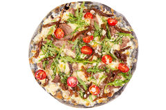 Pizza isolated on white Stock Photos