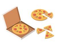 Pizza isométrica en la caja de cartón abierta, pizza entera sabrosa, rebanadas Foto de archivo