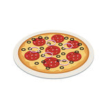 Pizza in isometric 3d style. Tasty pizza on the plate. Flat 3d vector isometric illustration. Concept picture Stock Photos