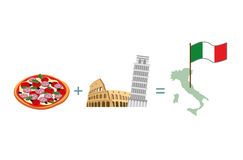 Pizza and Italian characters attractions. Map and flag of Italy Royalty Free Stock Image