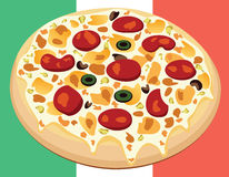 Pizza on italian flag Royalty Free Stock Photography