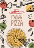 Pizza Italian food design menu brochure doodle style template Royalty Free Stock Images