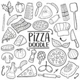 Pizza Italian Food Traditional doodle icon hand draw set Royalty Free Stock Photography