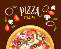 Pizza italian. Pizza vector Illustration. Pizza italian. Vector Illustration. Poster, banner, header, pizza with ingredients for its preparation Stock Photography