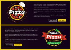 Pizza and Italian Recipes Set Vector Illustration. Pizza and Italian recipes set of web pages with text sample easy to edit and logos of pizza, headlines and Stock Images