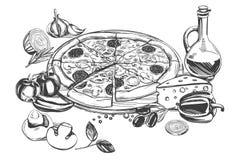 Pizza italiana, coleção da pizza com ingredientes, logotipo, esboço realístico tirado mão da ilustração do vetor ilustração do vetor
