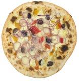 Pizza italiana com a cebola isolada no branco Foto de Stock