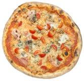 Pizza italiana com o bacon isolado no branco Fotografia de Stock