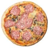 Pizza italiana com a salsicha isolada no branco Fotos de Stock