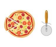 Pizza italiana com tomate, salsicha Foto de Stock