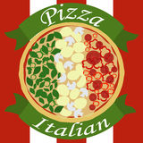 Pizza italiana come una bandiera italiana Immagine Stock