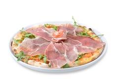 Pizza italiana con el jamón Fotos de archivo