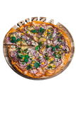 Pizza italiana con il cetriolo e la cipolla del cereale del prosciutto Una serie di tipi differenti di pizze per i menu da un ang Fotografia Stock Libera da Diritti