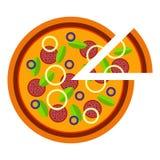 Pizza italiana con la cipolla, la salsiccia ed il basilico nello stile piano vector l'illustrazione di pizza affettata isolata su illustrazione di stock