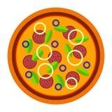 Pizza italiana con la cipolla, la salsiccia ed il basilico nello stile piano vector l'illustrazione di pizza isolata su fondo bia royalty illustrazione gratis