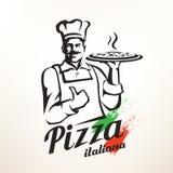 Pizza italiana della tenuta del cuoco unico illustrazione vettoriale