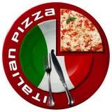 Pizza italiana - placa y cubiertos Fotos de archivo