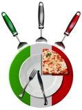 Pizza italiana - placa y cubiertos Fotografía de archivo libre de regalías