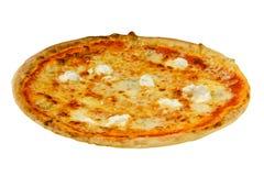 Pizza italiana saporita con isolato su fondo bianco Fotografia Stock